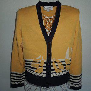 St. John Santana Knit Yellow Boat Cardigan Sweater